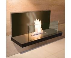 Wall Flame 2 schwarz gebürsteter Edelstahl Glas schwarz Ethanolkamin