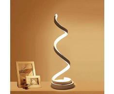 ELINKUME Spiral LED Nachttischlampen, 12W Warmweiß Augenschutz Stufenlose Helligkeit Dimmbar, Gebogene LED Tischleuchte/Schreibtischlampe/Dekorative Beleuchtung für Schlafzimmer Wohnzimmer (Weiß)