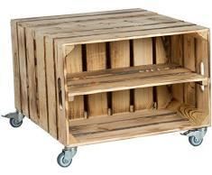 2er Obstkistentisch Elfriede mit Rollen Maße 60 x 54 x 42cm Couchtisch Abstelltisch Couch Tisch Weinkiste Holzkiste Regal Obstkiste Regaltisch Wohnzimmertisch (Geflammt mit EInlage)