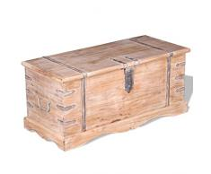 Festnight- Aufbewahrungstruhe aus Akazienholz | Couchtisch Truhe Massivholz Tischtruhe mit 2 Seitengriffen, Handgefertigt 90 x 40 x 40 cm Braun