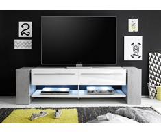 trendteam TM32235 TV Möbel Lowboard weiss Hochglanz, Beton Industry Nachbildung, BxHxT 170x51x40 cm