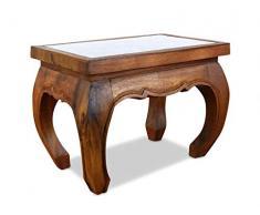 Opiumtisch in braun mit Elefantenschnitzerei. 58x38x41cm. Beistelltisch bzw. Couchtisch aus Massivholz. Asiatischer Holztisch als Kolonialstilmöbelstück.