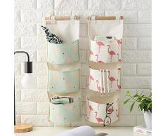 Milopon Baumwolle Wand Hängeorganizer Wandtaschen Aufbewahrungstasche hängenden Hängeaufbewahrung Beutel Tür zurück Aufbewahrungstasche Mehrschicht-Aufbewahrungstasche (Rosa)