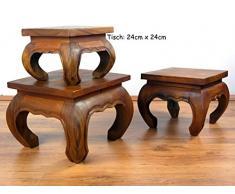 kleiner Opiumtisch, Beistelltisch, asiatischer Couchtisch, Nachttisch, Massivholz Möbel (Handarbeit) (24cm x 24cm)
