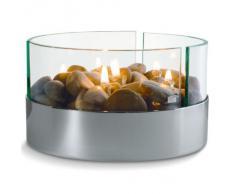 Philippi BURN Tischkamin 20 x 13 cm Glas/Aluminium Silber