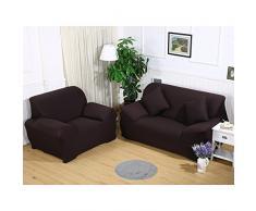 ele ELEOPTION Sofa Überwürfe Sofabezug Stretch elastische Sofahusse Sofa Abdeckung in Verschiedene Größe und Farbe (Dunkelbraun, 3 Sitzer für Sofalänge 170-220cm)