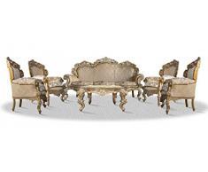 Casa Padrino Barock Sofa Set 3er Sofa 4 Sessel Und Tisch Mit Glasplatte    Antik Stil
