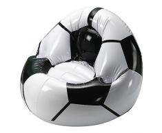 elasto form Aufblasbarer Sessel Fußball Coach mit Getränkehalterung für 2 Getränke | Luftsessel für Kinder max. 80 kg Ideales Fußball-Geschenk für Kinder (schwarz/Weiss)