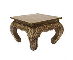 Oriental Galerie Opiumtisch Opium Tisch Beistelltisch Massiv Holz Couchtisch Nachttisch Hocker - 30 cm Gold Antik