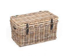 LEBENSwohnART Rattan Truhe RESSY Grey ca. L67cm Couchtisch Wohnzimmertisch Handarbeit Kiste