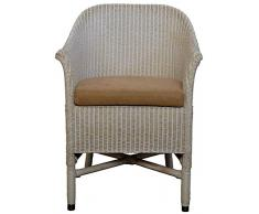 korb.outlet Loom-Sessel in der Farbe Vintage Weiss inkl. Polster Braun aus echtem Loom-Geflecht
