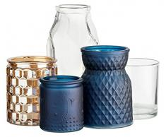 Beistelltisch mit abnehmbarem Tablett und Deko | Tabletttisch in Weiß aus Metall | 42cm x 49cm | 6-teilig | Mit Kerzenhalter aus transparentem Glas | Kerzenglas Blau + Goldfarben | Glasvase Blau