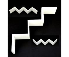 Lounge Regal ZickZack Design Retro CD Wandregal Hängeregal in Weiß
