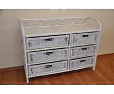 Rattanregal mit 6 Schüben, Korbregal mit Schub, Korbfarbe : weiß lackiert, Größe : B 100 cm, T 36 cm, H 75 cm