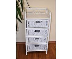 Rattanregal mit 4 Schüben , Korbregal mit Schub , Korbfarbe : weiß lackiert , Größe : B 45 cm , T 36 cm , H 95 cm .