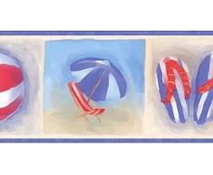Chesapeake Beach-Flip Flops Ball Chair Regenschirm Eimer und Schaufel blau rot Beige Tapetenrand für Badezimmer, Kinderzimmer, Roll-15 x 5