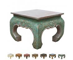 Opiumtisch Beistelltisch Nachttisch Couchtisch 50 x 50cm Thailand Tisch Holz Grün Rot Antik