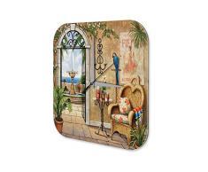 Wanduhr Retro Springbrunnen Getränke Sessel Acryl Deko Uhr Vintage Nostalgie