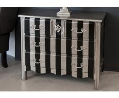 Casa Padrino Barock Kommode Silber/Schwarz Streifen 94cm - Antik Stil Möbel