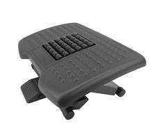 PrimeMatik - Fußstütze Fußauflage mit Verstellbarer Plattform aus schwarzer Farbe Kunststoff 455x330mm 3 Stufen