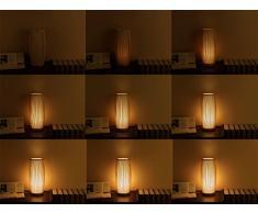 DKLICH Tischleuchte Nachttischleuchte Nordic Dekorative Leuchte Atmosphäre Tischlampe Nachttischlampe Schlafzimmer Hotel Retro Loft Vintage E27 Südostasiatischen Holz Bambus Kunst Lampe Desk Licht