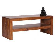 WOHNLING Couchtisch Massiv-Holz Sheesham 110 cm breit Wohnzimmer-Tisch Design dunkel-braun Landhaus-Stil Beistelltisch Natur-Produkt Wohnzimmermöbel Unikat modern Massivholzmöbel Echtholz rechteckig