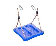 1 Stück h2i Kinder Fußschaukel Schaukelbrett Blau Schaukeln im Stehen mit Karabiner zum Einhängen