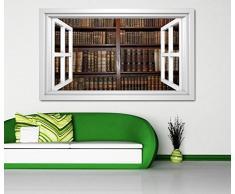 3D Wandtattoo alte Bücher Buch Regal antik Bibliothek selbstklebend Wandbild sticker Wohnzimmer Wand Aufkleber 11K802, Wandbild Größe F:ca. 162cmx97cm