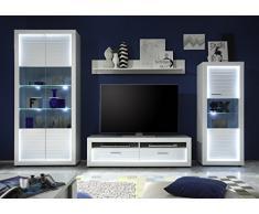 trendteam Wohnzimmer Lowboard Fernsehschrank Fernsehtisch Starlight, 150 x 44 x 41 cm in Korpus Weiß, Front Weiß Hochglanz mit Rillenoptik mit Profilbeleuchtung für den Rahmen