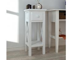 vidaXL Beistelltisch Telefontisch mit Schubfach weiß, 0856DF-MF