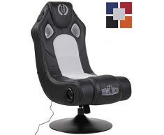CLP Gaming Soundsessel Taupo Kunstleder I Sessel mit 2.1-System für Gaming und Musik I Drehsessel mit Bluetooth schwarz/weiß