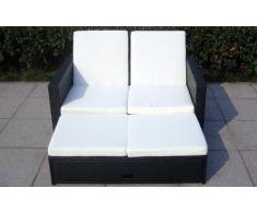 Baidani Gartenmöbel-Sets 10c00008.00001 Designer Rattan Doppelliege Harmony, Sofa, Fußbank mit integrierter Kissenbox und passenden Auflagen, schwarz