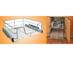HI Teleskop Schublade - Küchenschrank Schublade für 60 cm Küchenschränke, Aufbewahrungskorb Schublade Einbau, Teleskop Korb für Küchenschrank, aus Metall (verchromt)