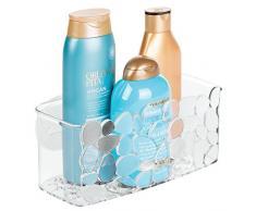 iDesign Duschablage mit Saugnapf, kleiner Duschkorb aus Kunststoff, hängende Seifenablage mit Ablauföffnungen, durchsichtig