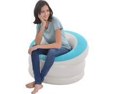 Pullach Hof Aufblasbarer Sessel ca. 85cm x 82cm x 60cm Aufblasmöbel Sommer Baden Schwimmen Schwimmbad inklusive Reperaturenset (Hellblau)