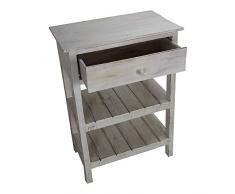Telefontisch weiß mit Schublade und Ablage Landhaus shabby chic Beistelltisch aus Holz 5822