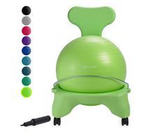 gaiam Classic Balance Ball Chair - Übungsstabilität Yoga Ball Premium Ergonomischer Stuhl für Zuhause und Büro Schreibtisch mit Luftpumpe, Übungsanleitung und Zufriedenheitsgarantie, Wasabi