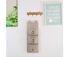 E EBETA Hängende Tasche Aufbewahrungstasche Hängeorganizer Wand Tür Organizer Utensilientasche 3 Fächer (Grau)