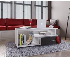 VCM Couchtisch Sofatisch Wohnzimmertisch Beistelltisch Wohnzimmer Tisch Weiß/Schwarz 43 x 110 x 40 cm Rilos