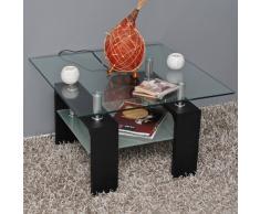 Design Glastisch Beistelltisch 70 x 70 cm Edelstahl Holz Schwarz + 8 mm ESG Glas