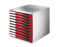Leitz 52810025 Schubladenset Formular-Set, 10 Schubladen, lichtgrau/rot