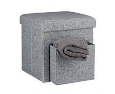 Relaxdays Faltbarer Sitzhocker, Leinen, Aufbewahrungs-Fach, abnehmbarer Deckel, Sitzwürfel, stabil, bis 300 kg, HxBxT 38 x 38 x 38 cm, verschiedene Farben, grau