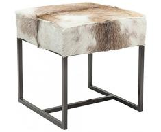 Kare 80205 Hocker Country Life Möbel, Stoff, weiß/beige/grau, 45 x 45 x 47 cm