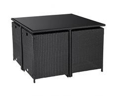 Ultranatura Poly-Rattan Lounge-Set, Palma-Serie 5-teilig / Tisch + 4 Sessel inklusiv Auflagen