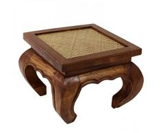 Opiumtisch Nachttisch Wohnzimmer Beistelltisch 30 x 30cm Massiv Hocker Schemel Holz Tisch Braun Rattan