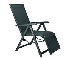 Kettler Relaxsessel Basic Plus – wetterfester Klappstuhl aus Aluminium und mit hautsympathischem Gewebe – verstellbarer Liegestuhl für Terrasse und Garten – anthrazit & anthrazit