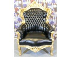 Barock Sessel King Schwarz/Gold Lederoptik