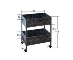 GYP Rattan Regale, praktische Rattan Kreative Küche Wohnzimmer Balkon Mehrere Ebenen Platzierung Lagerung Rack Landung Regal Wasserdicht und Schimmel Hand Made 43.5cm * 47.5 / 85cm kaufen ( Farbe : B , größe : 47.5CM )