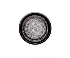 Orientalisches rundes Tablett aus Metall Fayek 40cm groß Schwarz Weiß | Marokkanisches Vintage Teetablett | Orient Serviertablett Rund Rutschfest | Orientalische Dekoration auf dem gedeckten Tisch