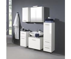 Held Möbel 220.3007 Blanco Midischrank , 1 türig / 2 Auszüge / 2 Einlegeböden / 35 x 114 x 35 cm / Hochglanz-weiß